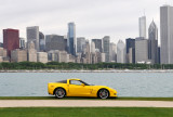 Impressive background for yellow Corvette!