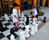 Boys playing Big Chess Game!