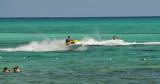 A couple of speedy jet skiers