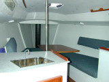 Wylie 30 interior, view from galley