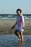 Susie beachcombing