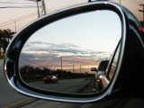Sunset in the rearview mirror