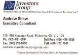 2010 Girls 16U Black Sponsor - Andrew Shaw, Investors Group