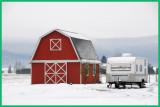 Red barn, white snow.