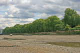 Wandsworth Park from the river bed at low tide.