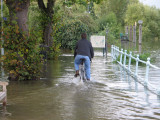Tides over 5 metres flood the pavement.