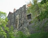 The windows at the back of the castle.
