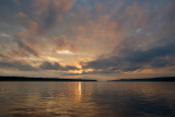 sunset over the the Yenisei river