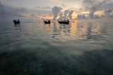 Thailand. Phi Phi island. Sunrise scenery with thai boats