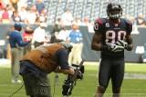 Houston Texans WR Andre Johnson with CBS Sports cameraman John Bruno