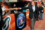 NFL commissioner Roger Goodell and the CBS Sports Logo