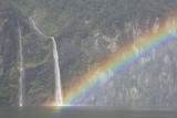 Rainbow and Waterfalls, Milford Sound