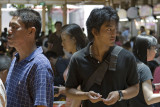 Waiting in the crowded Hawker Stalls