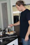 Tim prepares his plate
