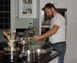 Dan prepares Christmas dinner