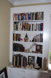 living room bookcase, left
