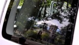 Bidwell Mansion in the Reflection of Our Van Window