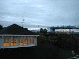 Light rail station next to hotel