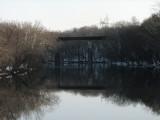 Reflection of the railroad bridge