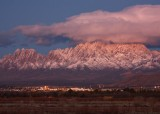 Organ Mountains in the snow after sunset