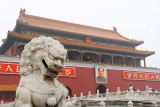 Gate of Heavenly Peace, with stone lions and a portrait of Chairman Mao