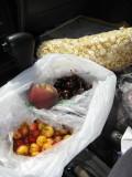 Yum, fresh cherries, peaches, and carmel corn