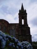 Hydrangeas at foot of chapel