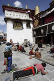 Prostrating pilgrim at Jokhang