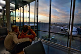 Waiting for the flight. Vita & Dima in Zurich airport