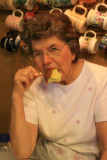 Mom enjoying a caramel apple