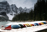 Colorful Canoes at Moraine Lake