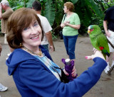 Susan with White Fronted Amazon Parrot