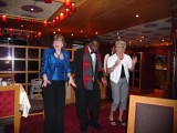 Susan & Silda (tablemate) Dancing with Joseph (waiter)