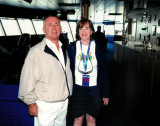 Captain of Carnival Dream & Susan on the Bridge