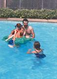 B-I-L Chris in the pool with Stephanie, Wayne & Erica
