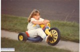 Erica with her BMW Big Wheel