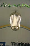 Weimar train station flourescent bulb chandelier