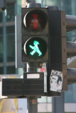 Old East German green traffic man