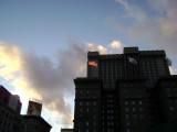 San Francisco setting sun focusing on Old Glory