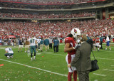 Larry Fitzgerald and reporter