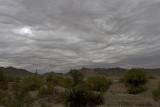 Heavy clouds just W. of Quartzite