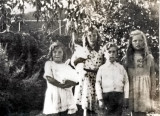 Irene, Dot, Frank & Ciss with the Pet Rabbits that used to eat up Grandpa's Garden