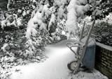 wheelbarrow in snow