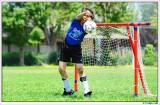 Practicing goalie