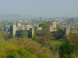 Ludlow Castle in the morning haze.