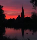 St.Paul's,Woodford Bridge,at dusk.