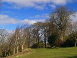 Annan  Castle, the  motte  ,viewed  from  the  remains  of  the  bailey.