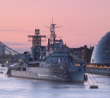 HMS  Belfast  and  City  Hall  in  the  pink.