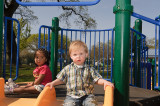 Gabe on slide with another child