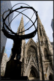 Atlas statue and St. Particks Cathedral